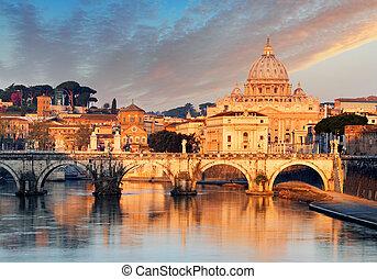 río tiber, ponte, sant, angelo, y, st. peter's basilica