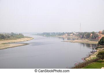 río yamuna, taj, (crown, banco, india, pradesh, mahal, uttar...