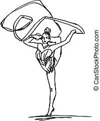 rítmico, bosquejo, mujer, arte, ilustración, vector, ...