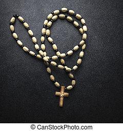 różańcowa perełka, z, krzyż, robiony, od, drewno