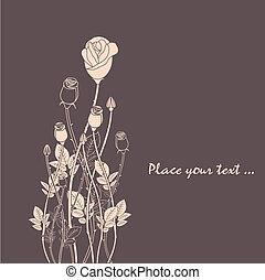 róża, abstrakcyjny, kwiat, tło