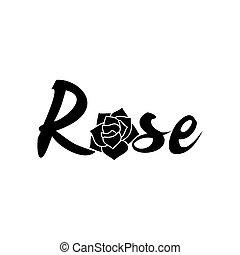 róża, biały, czarnoskóry, szablon, logo