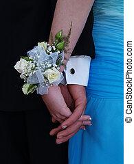 róża, biały, nadgarstek, stanik