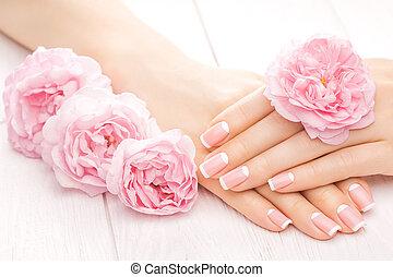 róża, flowers., manicure, francuski, zdrój