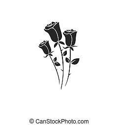 róża, ikona, kwiat, wektor, piękno