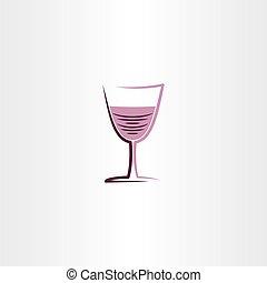 róża, ilustracja, stylizowany, szkło, wektor, ikona, wino