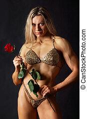róża, kobieta, silny