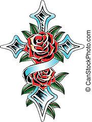 róża, krzyż, wstążka, skrzydło