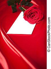 róża, na, koperta, tło, jedwab, czerwony