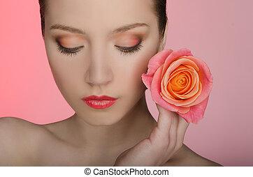 róża, oczy, kobieta, zamknięty, jej