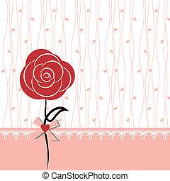róża, projektować, karta, czerwony