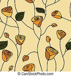 róża, seamless, próbka, żółty