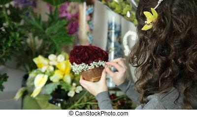 róża, serce, bukiet, w, kwiaciarnia