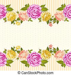 róża, ułożyć, card., zaproszenie