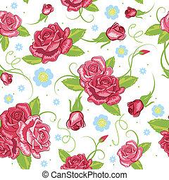 róża, wektor, seamless, tło