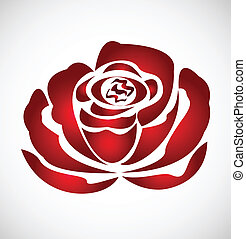 róża, wektor, sylwetka, logo