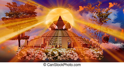 róża, zachód słońca, ogrody, jeddah