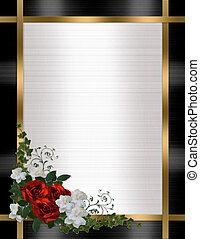 róże, ślub, brzeg, czerwony, zaproszenie