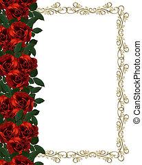 róże, brzeg, czerwony, zaproszenie