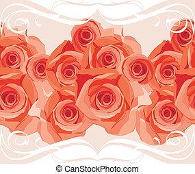 róże, brzeg, rozkwiecony