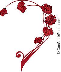 róże, brzeg, valentine