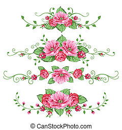 róże, chorągwie, komplet