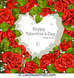 róże, czerwony, dzień, karta, valentine