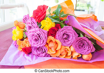 róże, jasny, barwny