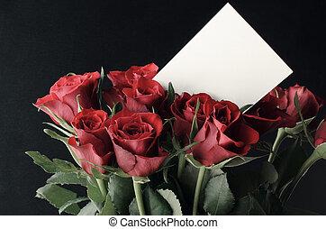 róże, karta, czysty, biały, wiadomość, czerwony, grono