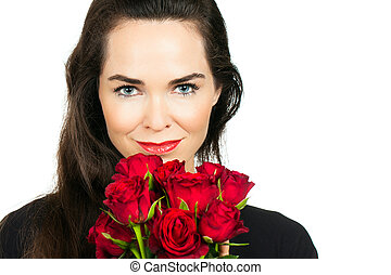 róże, kobieta dzierżawa, grono
