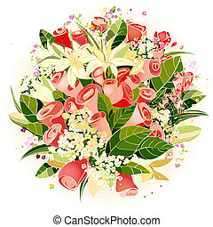 róże, kwiaty, lilia, ilustracja, grono