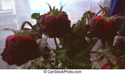 róże, kwiaty, wazon, stać, wyblakły