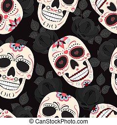 róże, muertos, czaszka, tło., próbka, od, ozdoba, seamless, zmarły, dia, los, wektor, czarnoskóry, ilustracja, kwiatowy, dzień, celebrowanie