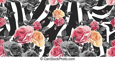 róże, próbka, abstrakcyjny, seamless, tło., zebra, zwierzę, print.