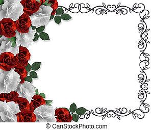 róże, valentine, brzeg, albo, ślub