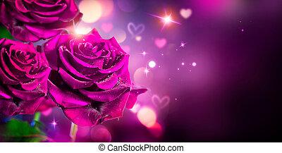 róże, valentine, tło., projektować, ślub, serca, albo, karta