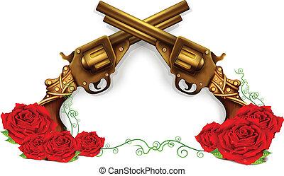 róże, wektor, krzyżowany, pistolety