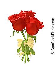 róże, wstążka, wiązany razem, 3d