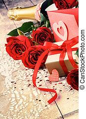 róże, zmontowanie, czerwony, niniejszy, valentine