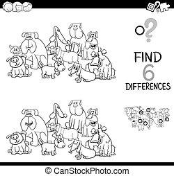 różnica, kolorowanie, miejscowość, książka, psy