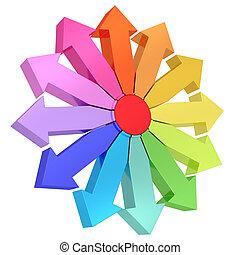 Różny, środek, barwny, strzały, kierunki, czerwony