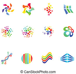 różny, 12, 17), barwny, wektor, symbols:, (set