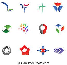 różny, 12, barwny, 11), wektor, symbols:, (set