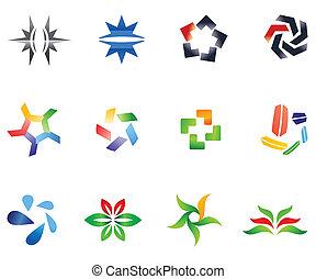 różny, 12, barwny, 4), wektor, symbols:, (set