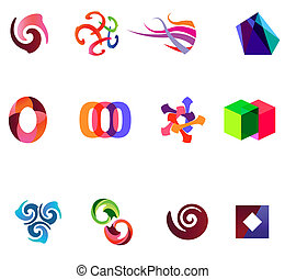 różny, 12, barwny, wektor, 19), symbols:, (set