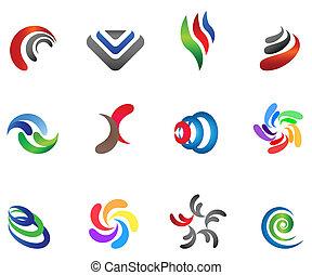 różny, 12, barwny, wektor, 5), symbols:, (set