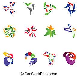 różny, 12, barwny, wektor, symbols:, 15), (set