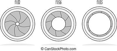 różny, aparat fotograficzny, żaluzja, apertures