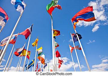 różny, bandery, kraj, krajowy