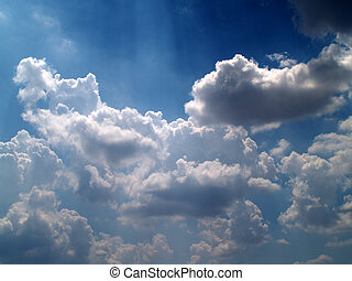 różny, barwny, niebo, chmury, komplet